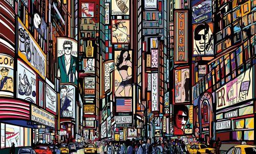 GREAT ART | New York illustrazione, Time Square in Stile Fumetto Carta